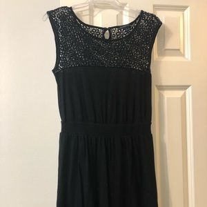 Black banana republic dress with lace at top